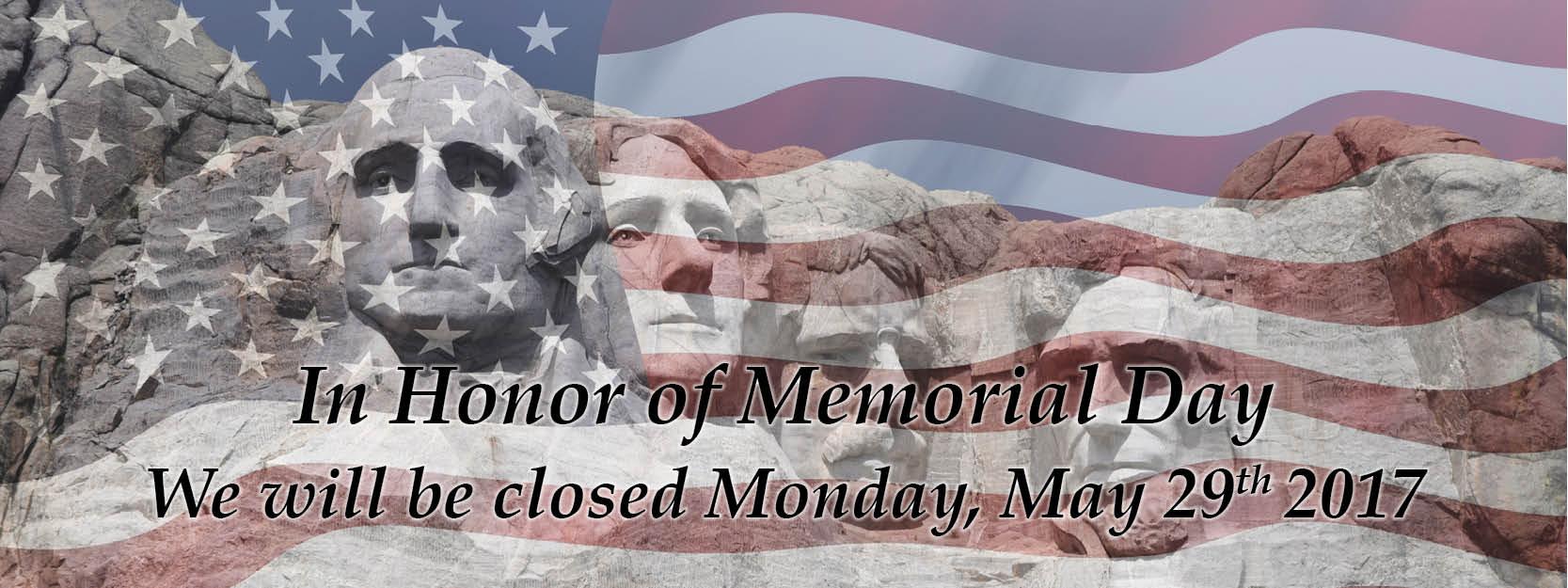 Closed Monday May 2017