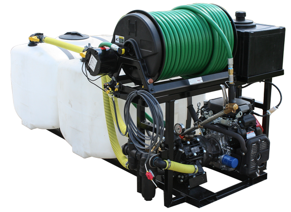 Dual Tank Skid Sprayer_100 Gal Tanks_Electric Reel with Tree Gun