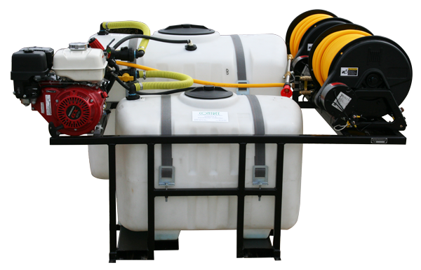 Dual Tank Skid Sprayer_200Gal and 100Gal Tanks_Curb Side Electric Reels with Tree Gun